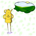 Mr teapot your best expert in different teas cartoon character illustration of thinking about his favorite tea Royalty Free Stock Photos