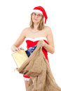 Mrs claus having gifts for christmas many nice Stock Image