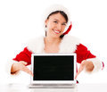 Mrs Claus with a laptop Royalty Free Stock Photography