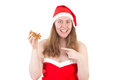 Mrs claus showing you gingerbread star delicious Stock Photo