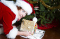 Mrs claus sneaking gingerbread house a piece of from under the christmas tree Stock Photography