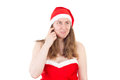Mrs claus thinking what she could give as gift you Royalty Free Stock Image