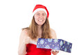 Mrs claus very happy about this gift beautiful blue Stock Photo
