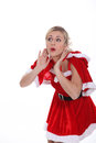 Mrs claus woman dressed in a seductive christmas outfit Stock Photo