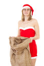 Mrs claus after work with empty jute bag Royalty Free Stock Photography