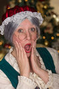 Mrs clause is shocked oh my what did santa just see you all better be in bed for our visit on christmas morning Royalty Free Stock Image