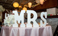 Mrs decoration a wedding with the letters for the honorific used for married women Royalty Free Stock Photo