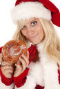 Mrs santa doughnut smirk Royalty Free Stock Photo