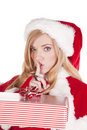 Mrs Santa present shhh Stock Photography