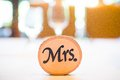 Mrs sign at a wedding reception decor Royalty Free Stock Photo