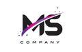 MS M S Black Letter Logo Design with Purple Magenta Swoosh Royalty Free Stock Photo