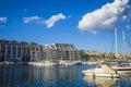 Msida, Malta - Jacht marina at Msida with blue sky and clouds