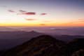 Mt buller sunset view the at from the summit of towards mansfield in the victorian high country australia Royalty Free Stock Photography