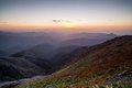 Mt buller sunset view the at from the summit of towards mansfield in the victorian high country australia Royalty Free Stock Photo