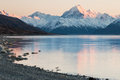 Mt. Cook lit by first rays of sun, New Zealand Royalty Free Stock Photo