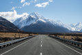 Mt cook mount road with view on mount aoraki new zealand highest mountain Royalty Free Stock Photo