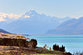 Mt cook view from the beautiful blue lake pukaki new zealand Stock Image