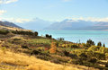 Mt cook view from the beautiful blue lake pukaki new zealand Stock Photos