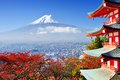 Mt fuji in autumn with fall colors near chureito pagoda fujiyoshida japan Stock Images