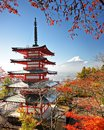 Mt fuji in autumn with fall colors near chureito pagoda fujiyoshida japan Royalty Free Stock Photography