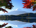 Mt fuji in the autumn and foliage at lake kawaguchi Royalty Free Stock Images