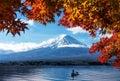 Mt Fuji in autumn view from lake Kawaguchiko Royalty Free Stock Photo
