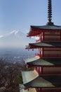 Mt. Fuji with Chureito Pagoda in dry winter, Fujiyoshida, Japan Royalty Free Stock Photo