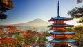 Mt fuji with chureito pagoda fujiyoshida japan in autumn Stock Images