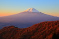 Mt fuji glows in the morning sun yamanashi japan Royalty Free Stock Images