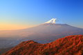 Mt fuji glows in the morning sun yamanashi japan Royalty Free Stock Photo