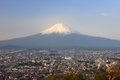 Mt fuji japan view of and fujiyoshida city Royalty Free Stock Image