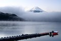 Mt fuji and lake kawaguchi peaks from the clouds over in japan Royalty Free Stock Photos