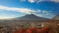 Mt. Fuji rises over Fujiyoshida, Japan Royalty Free Stock Photo