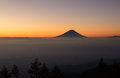 Mt.Fuji and Sea of clouds at dawn Royalty Free Stock Photo