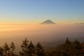 Mt.Fuji and Sea of clouds in the early morning Royalty Free Stock Photo