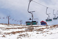 Mt hermon israel isr mar empty chair lift on on mar it s summit straddles the border between syria and lebanon and at m Stock Photo