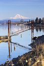 Mt hood towering over columbia river along marine drive portland Stock Image