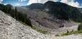 Mt rainier carbon glacier a panoramic stitch of the toe of the as it descends from Royalty Free Stock Photo