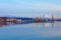 Mt.Ranier and Tacoma port with cranes and bridge. Royalty Free Stock Photo