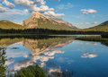 Mt. Rundle reflects in Vermilion Lakes Royalty Free Stock Photo