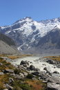 Mt sefton above mueller lake hooker valley track Royalty Free Stock Photos