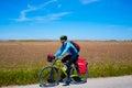 Mtb biker bicycle touring with pannier racks and saddlebag Royalty Free Stock Images