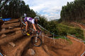 MTB Girl Steep Steps Challenge Royalty Free Stock Photos