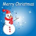 Muñeco de nieve de la Feliz Navidad card.cartoon   Fotografía de archivo libre de regalías