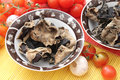 Mu err mushrooms some dried in a bowl Royalty Free Stock Images
