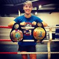 Muay thai champ world champion kate boyd with of her belts Stock Photos