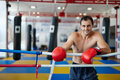 Muay thai fighter resting in the ring Royalty Free Stock Photo