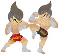 Muay thai fighting fighter elbow strike vs a guarded stance Royalty Free Stock Image