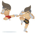 Muay thai fighting fighter jump kick vs a guarded stance Stock Photography