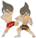 Muay thai fighting fighter knee strike vs elbow strike Royalty Free Stock Photo